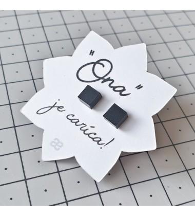 "Earrings ""Her"" - Black cube"