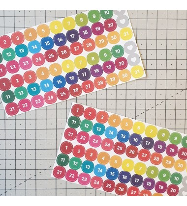 "Date stickers - ""Rainbow"""