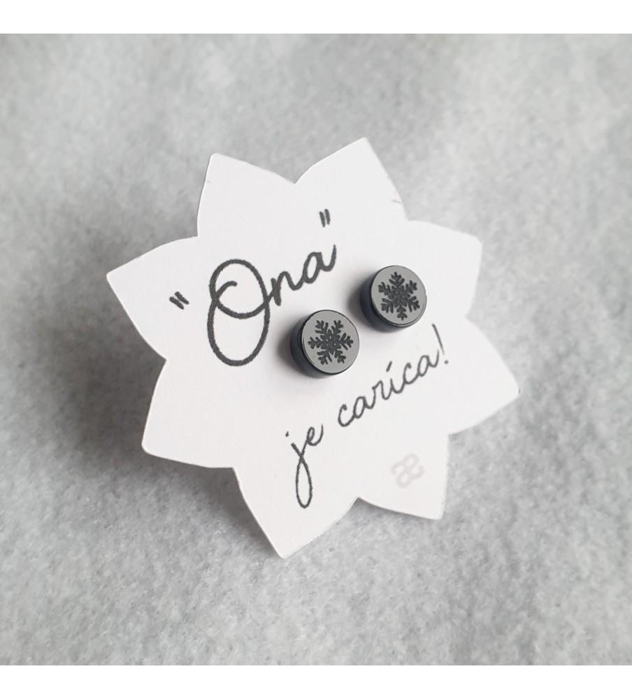 """Earrings """"Her"""" - Black snowflake"""