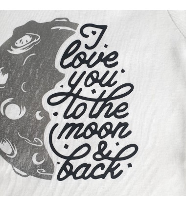 TO THE MOON AND BACK - silver - Organic cotton baby body